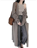 cheap Women's Wool & Wool Blend Coats-Women's Daily Solid Colored Long Sleeve Loose Long Cardigan, V Neck Black / Camel One-Size
