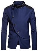 זול בלייזרים וחליפות לגברים-קולור בלוק דש רשמי בלייזר-בגדי ריקוד גברים,טלאים / שרוול ארוך