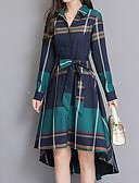 abordables Vestidos de Mujer-Mujer Tallas Grandes Algodón Camisa Vestido Cuadrícula Midi Asimétrico Cuello Camisero