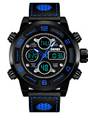 cheap Sport Watches-SKMEI Men's Sport Watch Military Watch Japanese Quartz 30 m Alarm Calendar / date / day Chronograph Genuine Leather Band Analog-Digital Luxury Fashion Black / Blue / Red - Black Red Blue One Year