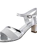 ieftine Rochii de Seară-Pentru femei D'Orsay & Două-Piese Sintetice Vară Pregătită Sandale Toc Îndesat Auriu / Argintiu