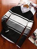 זול בלייזרים וחליפות לגברים-קולור בלוק - סוודר רזה שרוול ארוך צווארון V בגדי ריקוד גברים