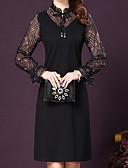 זול שמלות נשים-שחור מעל הברך רשת, אחיד - שמלה נדן כותנה מידות גדולות בגדי ריקוד נשים