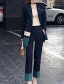 זול חליפות שני חלקים לנשים-מכנס קולור בלוק - בלייזר בגדי ריקוד נשים