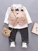 preiswerte Kleidersets für Jungen Babys-Baby Jungen Retro Alltag Solide Langarm Standard Baumwolle / Leinen / Acryl Kleidungs Set Grau