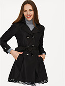 cheap Women's Coats & Trench Coats-Women's Cotton Trench Coat - Solid Colored, Lace