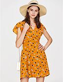 זול שמלות מקרית-V עמוק מותניים גבוהים מיני אחיד - שמלה נדן רזה בגדי ריקוד נשים / סקסית
