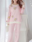 abordables Batas y ropa de dormir-Mujer Algodón Escote Redondo Traje Pijamas - Estampado, Un Color / Verano