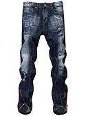 tanie Męskie kurtki i płaszcze-Męskie Moda miejska Bawełna Szczupła Jeansy Spodnie - Otwór, Solidne kolory