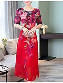 ieftine Rochii NYE-Pentru femei Mărime Plus Size Ieșire Bumbac Larg Șifon Rochie - Imprimeu, Floral Midi
