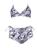 povoljno Bikini i kupaći 2017-Žene S naramenicama Tankini - Cvjetni print, Vezanje sa strane