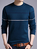 cheap Men's Sweaters & Cardigans-Men's Daily Striped Long Sleeve Regular Pullover, Round Neck Black / Red / Gray XL / XXL / XXXL