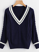 cheap Women's Sweaters-Women's Daily Basic Color Block Long Sleeve Regular Pullover, V Neck White / Navy Blue One-Size