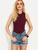 cheap Bodysuit-women's bodysuit - solid colored round neck