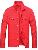 זול גברים-ג'קטים ומעילים-אחיד צווארון חולצה ז'קטים מג'ינס - בגדי ריקוד גברים / שרוול ארוך