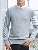 povoljno Muške majice i potkošulje-Muškarci Izlasci Prugasti uzorak / Color block Dugih rukava Slim Regularna Pullover, Okrugli izrez Plava / Crn / Sive boje L / XL / XXL