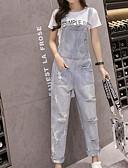tanie Damskie spodnie-Damskie Bawełna Typu Chino Spodnie - Solidne kolory Niebieski