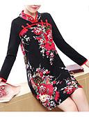 tanie Romantyczna koronka-Damskie Wzornictwo chińskie Bawełna Spodnie - Kwiaty Nadruk Czarny / Mini / Kołnierz stawiany / Wyjściowe