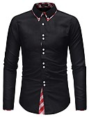 tanie Męskie koszule-Koszula Męskie Biznes / Podstawowy Bawełna Praca Kolorowy blok Czarno-czerwony / Długi rękaw