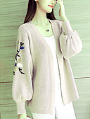 cheap Women's Sweaters-Women's Going out Floral Long Sleeve Regular Cardigan, V Neck Black / Pink / Beige One-Size