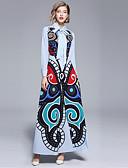 cheap Women's Dresses-Women's Going out Maxi Swing Dress - Abstract Print Shirt Collar Fall Light Blue L XL XXL