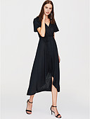 cheap Women's Dresses-Women's Holiday / Going out Sophisticated Swing Dress - Solid Colored Black Maxi Deep V / Summer