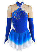 cheap Ice Skating Dresses , Pants & Jackets-Figure Skating Dress Women's / Girls' Ice Skating Dress Blue Flower Halo Dyeing Spandex Performance Skating Wear Breathable, Handmade Floral / Fashion Long Sleeve Ice Skating / Figure Skating