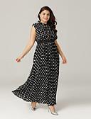 رخيصةأون فساتين قياس كبير-فستان نسائي قياس كبير متموج بوهو كشكش طويل للأرض منقط شاطئ
