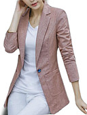 cheap Women's Blazers-women's going out blazer-solid colored peter pan collar