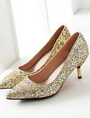 preiswerte Abendkleider-Damen High Heels Komfort Schuhe Niedriger Heel Denim Jeans Frühling Weiß / Schwarz / Silber / Alltag
