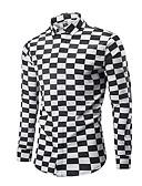 tanie Męskie koszule-Koszula Męskie Moda miejska, Nadruk Pepitka Czarno-biały
