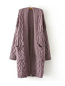 cheap Women's Sweaters-Women's Basic Cotton Loose Long Cardigan - Solid Colored Deep V / Fall