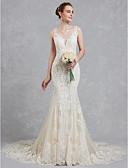 povoljno Vjenčanice-Sirena kroj V izrez Srednji šlep Čipka / Til Izrađene su mjere za vjenčanja s Perlica / Čipka po LAN TING BRIDE®