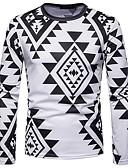levne Pánská tílka-Pánské - Geometrický Vintage / Cikánský Tričko, Tisk Bavlna Černá a Bílá Bílá L / Dlouhý rukáv