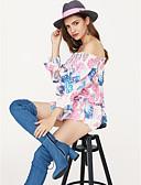 baratos Biquínis e Roupas de Banho Femininas-Mulheres Blusa Casual Estampado, Floral Decote Canoa / Verão / Sexy