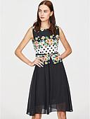 זול שמלות נשים-מעל הברך מנוקד - שמלה גזרת A מידות גדולות בסיסי חגים בגדי ריקוד נשים