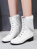 cheap Women's Belt-Women's Fashion Boots PU(Polyurethane) Fall & Winter Boots Low Heel Round Toe Mid-Calf Boots Rivet White / Black / Yellow