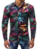 povoljno Muške košulje-Veći konfekcijski brojevi Majica Muškarci - Osnovni / Ulični šik Klub / Vikend Pamuk Color block Slim, Print / Dugih rukava