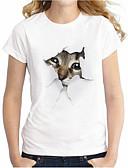 baratos Camisetas Femininas-Mulheres Tamanhos Grandes Camiseta Básico / Moda de Rua Ganga, Animal Algodão Gato / Verão