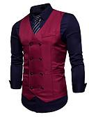 hesapli Erkek Blazerları ve Takım Elbiseleri-Erkek Çalışma Normal Vesta, Solid V Yaka Kolsuz Polyester Şarap / Haki / Navy Mavi L / XL / XXL / İş Dünyası İçin Günlük