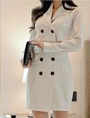cheap Women's Dresses-Women's Daily Slim Sheath Dress - Striped Stand White M L XL