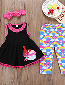 cheap Girls' Clothing Sets-Kids Girls' Active Holiday Cartoon Print Sleeveless Cotton Clothing Set Black