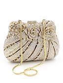hesapli NYE Elbiseleri-Kadın's Kristal Detaylar / Oyuklu alaşım Gece Çantası Yapay elmas kristal gece çantaları Altın / Sonbahar Kış