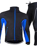 رخيصةأون ملابس سباحة رجالي-Nuckily للرجال كم طويل جورسيه مع فيزون للدراجة - أحمر / أخضر / أزرق دراجة هوائية مجموعات الثياب, مقاوم للماء, 3D وسادة, الدفء بوليستر, الصوف / متنفس / سريع جاف / تصميم تشريحي / عالية المرونة