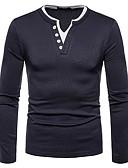 ieftine Maieu & Tricouri Bărbați-Bărbați În V Tricou Mată / Manșon Lung