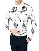 זול חולצות לגברים-קולור בלוק צווארון קלאסי רזה עבודה חולצה - בגדי ריקוד גברים / שרוול ארוך