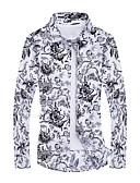 billige Herreskjorter-Herre - Geometrisk Trykt mønster Aktiv Plusstørrelser Skjorte Hvid XXXXL / Langærmet