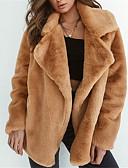 cheap Women's Fur & Faux Fur Coats-Women's Going out Street chic Loose Fur Coat - Solid Colored, Fur Trim