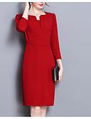 baratos Vestidos para Trabalhar-Mulheres Tamanhos Grandes Algodão Delgado Calças - Sólido Preto / Vermelho Preto / Trabalho