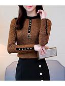 billige Kvinner Fur & Faux Fur Coats-T-skjorte Dame - Ensfarget Grunnleggende